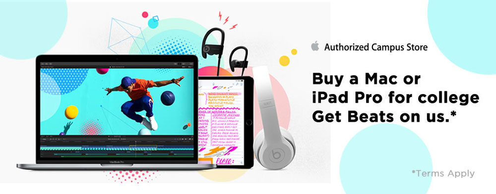 Buy a qualifying Macbook, iMac or iPad Pro and receive a pair of Beats on us!