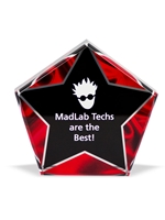 Acrylic Red Velvet Star Award Engravable
