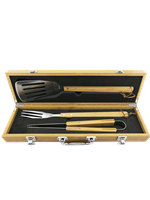 3 pc Bamboo BBQ Set Engravable