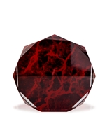 Acrylic Red Marbled Octagon Award Engravable