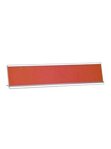 Desk Name Plate Holder & Acrylic SILVER 2x10 Engravable