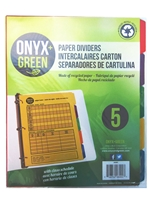 Onyx Green Paper Dividers 5 Tab