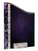 "5"" x 8"" Silver/Purple Victory Award SunRay with Aluminum Base"