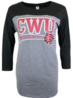 Ladies CWU Black and Gray 3/4 Sleeve