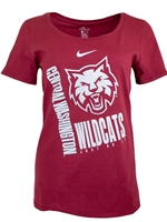 "Ladies Nike Crimson Scoop Neck Tee w/ White FF Cat Head and ""Wildcats"""