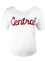 UA White Tee Crim/Central Keyhole back