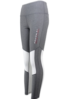UA Ladies Gray Central Leggings w/White Mesh