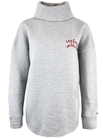 Ladies Gray Ribbed Turtleneck Crew