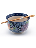 Blue Swirl Floral Rice Bowl with Chopsticks