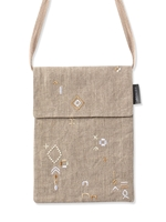Stitched Linen Crossbody Bag