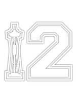 12th Man Space Needle Medium Sticker (White)