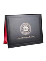 Diploma Cover -- Black with Gold CWU Presidential Seal
