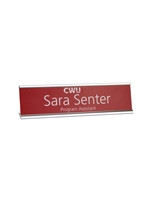 Desk Name Plate Holder & Acrylic SILVER 2x8 Engravable