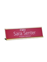 Desk Name Plate Holder & Acrylic GOLD 2x8 Engravable