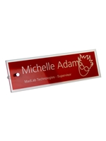 Glass Engravable Name Plate Red